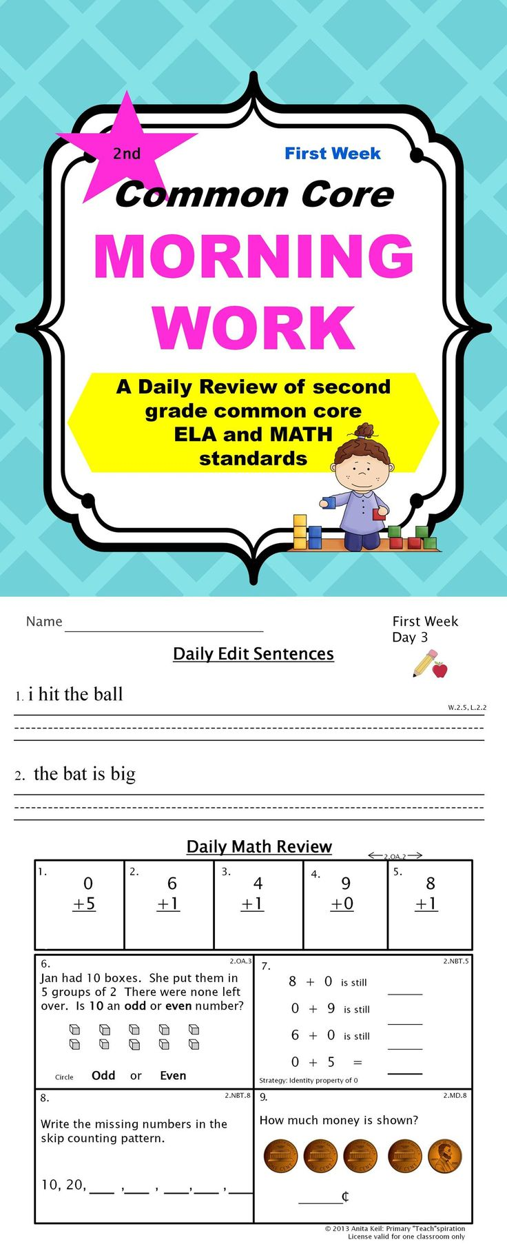 TAKE A PEEK AT A COMMON CORE WEEK! Then grab a FREE copy of this 2nd grade sample packet for the first week of Common Core Morning Work.