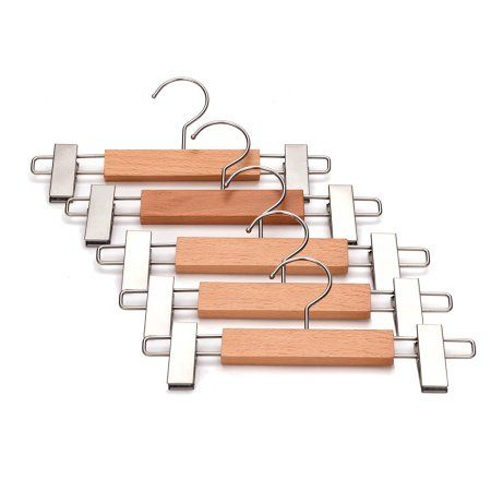 J.S. Hanger Wooden Pant Hangers with Anti-rust Hook and Clips, Natural Finish, 5-Pack