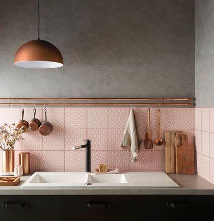 Des carreaux poudrés dans la cuisine