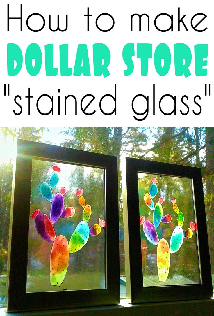 Turn dollar store items into beautiful faux stained glass windows