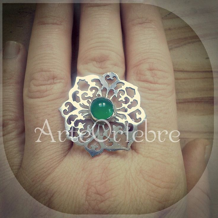 ::Anillo plata Calado & Cuarzo Verde ::  ArteOrfebre