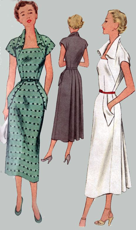 1950s Vintage Sewing Pattern McCall 8036 COUTURE Glam Dress with Standup Wing Collar, Matching Pocket flaps and Skirt Flounce  Size 18