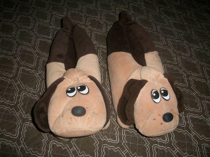VTG 1986 Pound Puppies Plush Stuffed Slippers Brown Dogs Sz 7-8 M Unisex #Tonka