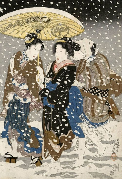 Three women walking in the snow.. Ukiyo-e woodblock print, 1820's, Japan, by artist Utagawa Kunisada: