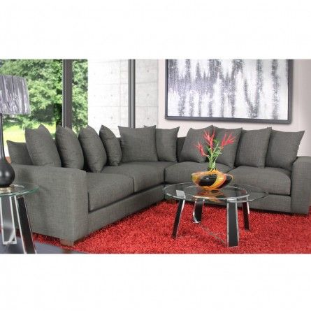 Gallery Furniture Custom Contemporary Charcoal Grey Sectional Sofa Living Room Houston