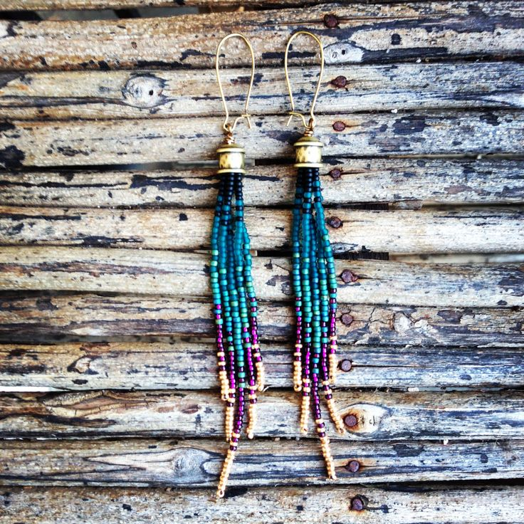 Peacock Earrings, Beaded Earrings,  Fringe Earrings, Peacock Earrings - pinned by pin4etsy.com