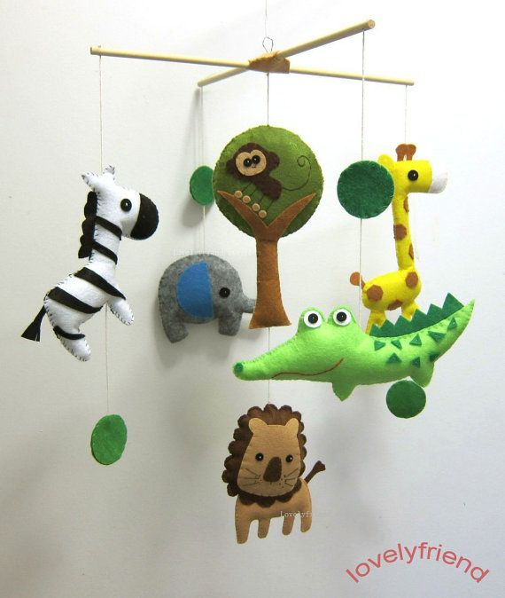 "Baby Crib Mobile - Baby Mobile - Baby Boy Felt Mobile - ""Baby boy loves Jungle Alligator and his Friends"" (Pick your color)"