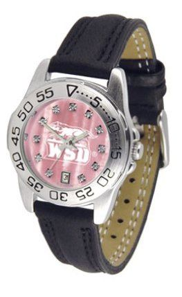 Wright State Raiders Ladies Sport Watch with Leather Band and Mother of Pearl Dial by SunTime. $59.04. Calendar Date Function. Rotation Bezel/Timer. Scratch Resistant Face. This handsome, eye-catching watch comes with a genuine leather strap. A date calendar function plus a rotating bezel/timer circles the scratch-resistant crystal. Sport the bold, colorful, high quality Wright State Raiders logo with pride.The hypnotic iridescence of our natural blush mother of pea...