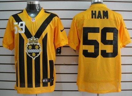 Men's Pittsburgh Steelers #59 Jack Ham 1933 Yellow Throwback Jersey