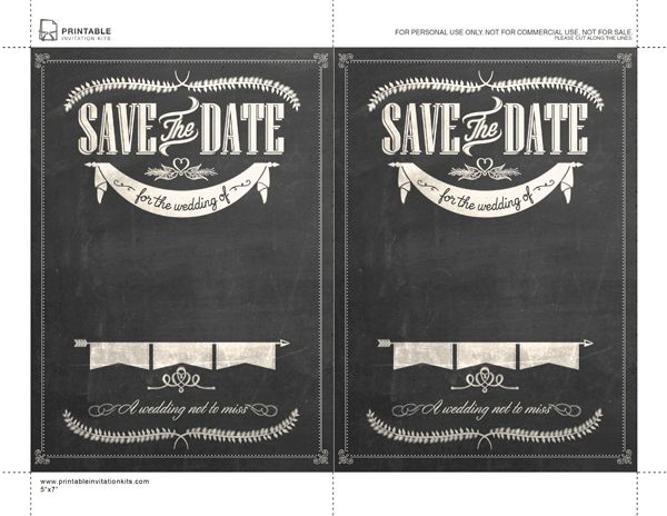 Free Stylish Chalkboard Save the Date template, enter info then get printed at Costco, Staples,