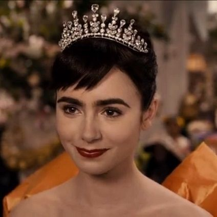 Snow White (Lily Collins) - wearing a tiara for her wedding. Photo from the movie Mirrors Mirrors