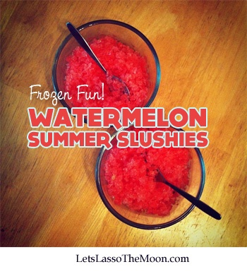 {Summer Watermelon Slushies, Oh Yeah!} Delicious way to cool down with the kids. The frozen melon can double as an ice pack for picnics too. And... I can imagine a dash of alcohol could make it a wonderful evening drink for Mom  Dad.  What would you recommend we add? Suggestions?