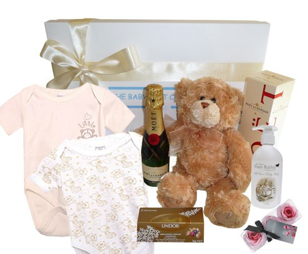 Beautiful Newborn Baby Gift Hamper containing a balanced collection of luxurious gifts.