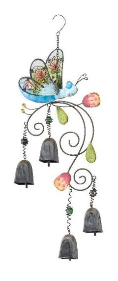 Bohemian Bells - Blue Dragonfly Wind Chime Glass Garden Bell By Regal Art Gift.