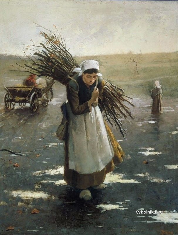 Schikaneder Jakub (Czech, 1855-1924) «Winter Echo (Old Woman Carrying Brushwood)» 1884