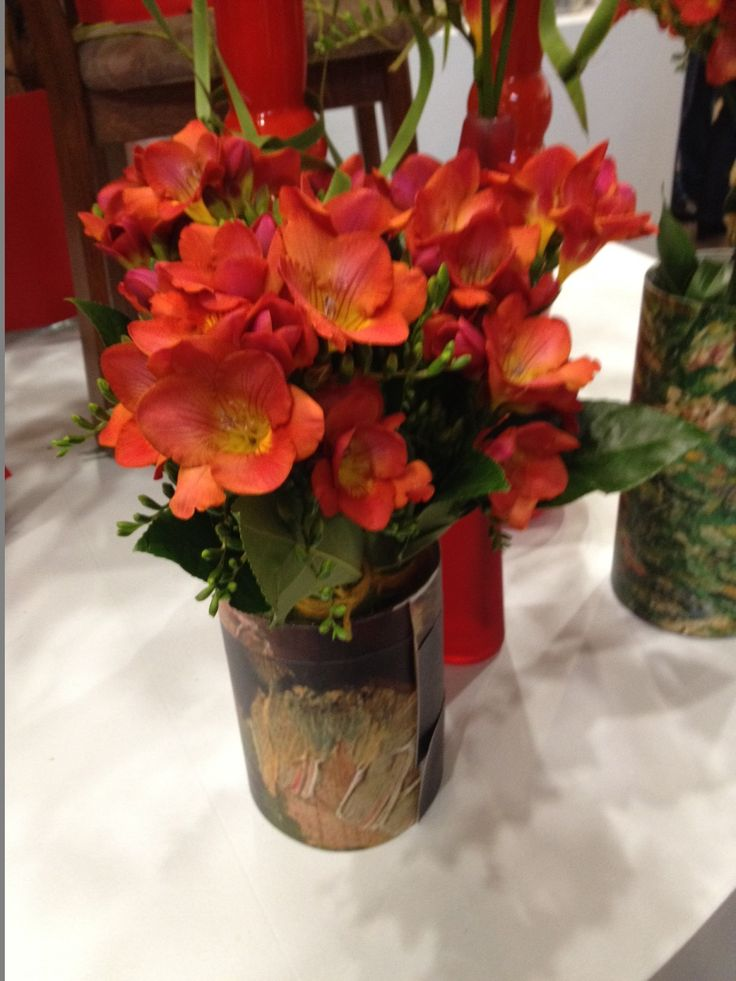 Painted can filled with red #freesia 'Acapulco'