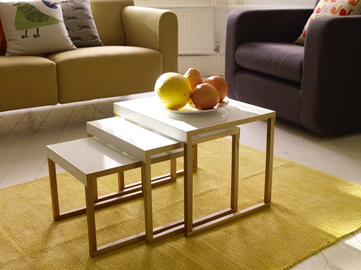 Habitat Deco Kilo Nest Of White Tables Perfect For The Living Room Next To Sofa Or