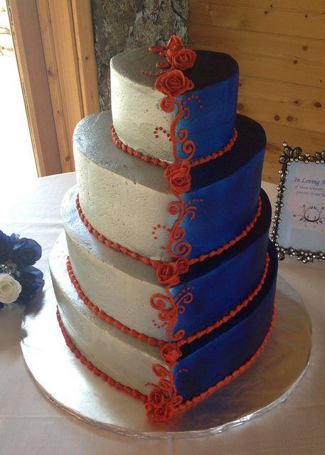 Blue Silver Burnt Orange Wedding Cake
