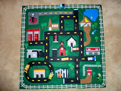 Play car mat complete with church, the cabin at Bear Lake, and let's not forget Costco!  The little man has loved it...yay for hard work paying off.