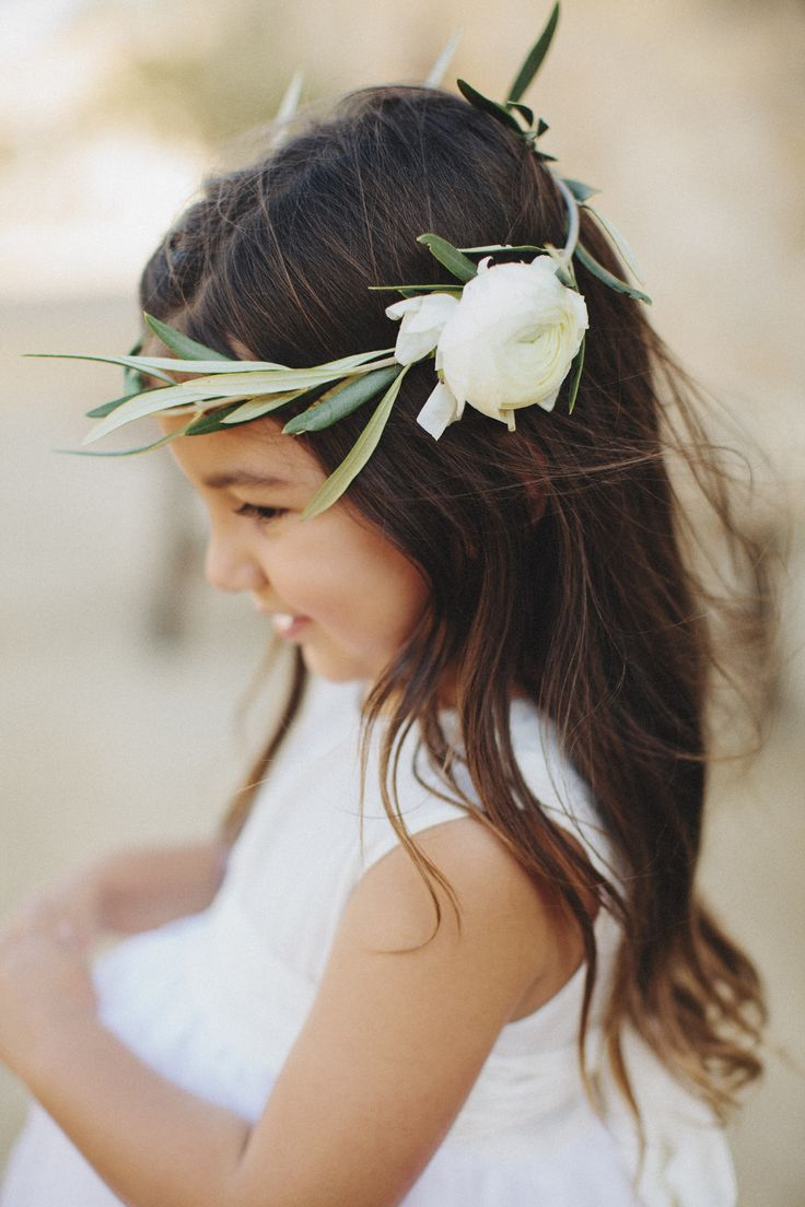 Olive branch flower crown for this beautiful flower girl.  Sunstone Villa wedding I very much enjoyed working on!  IMAGE by Matthew Morgan.