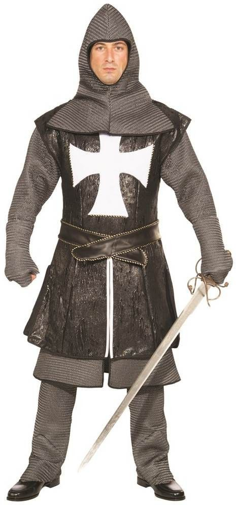 Black Knight Costume Medieval Renaissance Prince Adult Mens Plus Size XXL