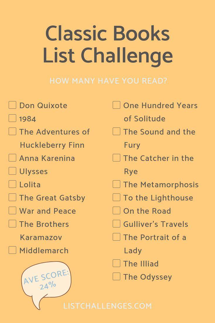 1001 Games To Play Before You Die List 99 classic books challenge  lesen herausforderung, bücher
