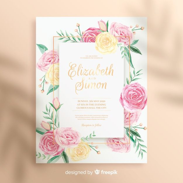 Download Cute Watercolor Floral Wedding Invitation Template For