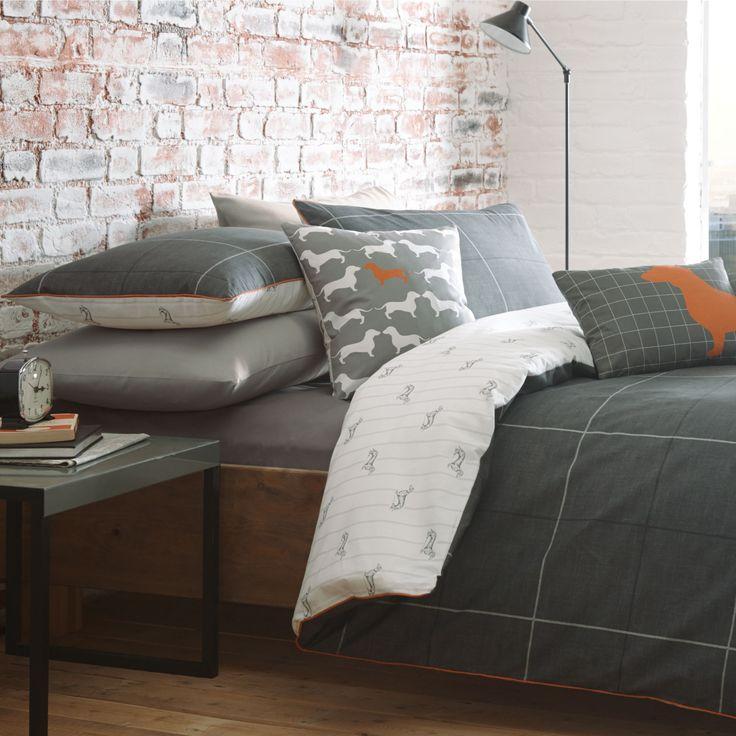 Racing Green Urban Dachshund & Check Charcoal Double Bed Set | Departments | DIY at B&Q