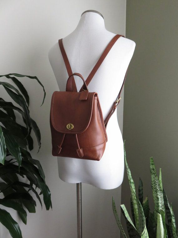 b9c159f25ae16 Vintage COACH Backpack Leather Small Tan Cognac Brass Hardware Day Pack  1990s