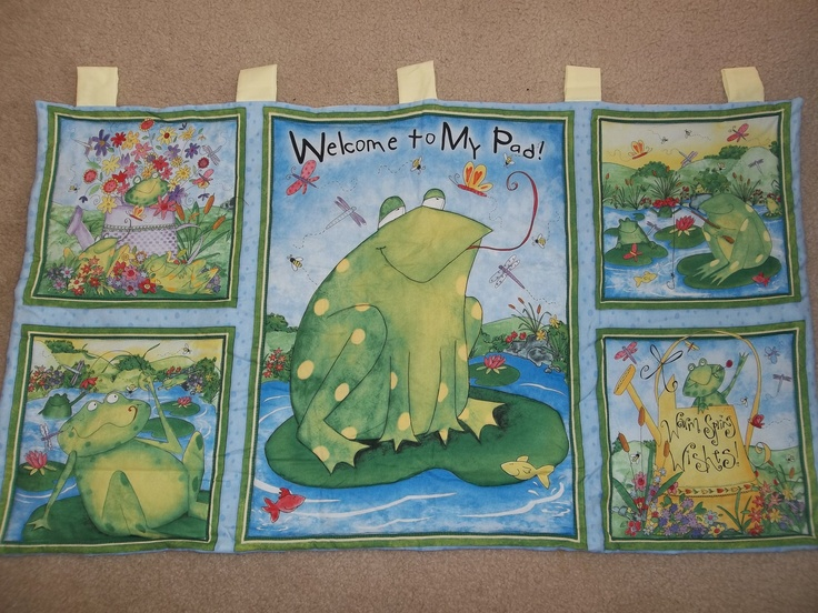 "Handmade Frog Pond Wall Hanging - 41.5"" x 23.5"" 100% Cotton - $20.00 on eBay"