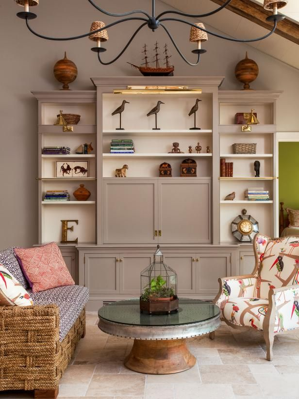 15 Ways To Design With Woodsy Wildlife Diy Network Ultimate Retreat Giveaway Diy Mediterranean Living Room Living Room Designs Living Room Bookcase