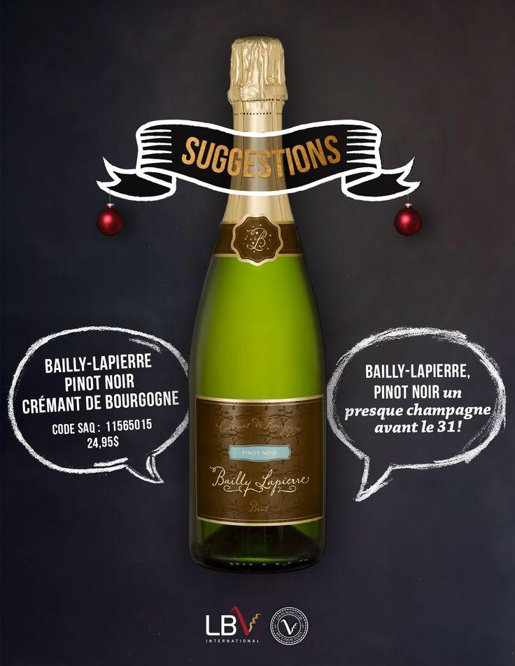 Bailly-Lapierre, Pinot Noir, Crémant de Bourgogne Brut Code SAQ : 11565015 | 24,95$