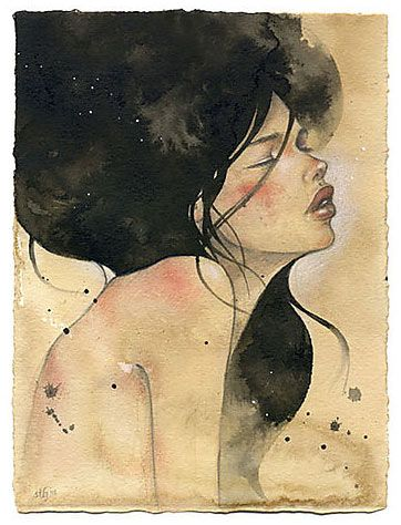 Watercolour: Watercolor Art, Artsi Fartsi, Watercolor Paintings, Black Hairs, Art Inspiration, Illustration, Cool Tattoo'S, Artists Inspiration, Audrey Kawasaki