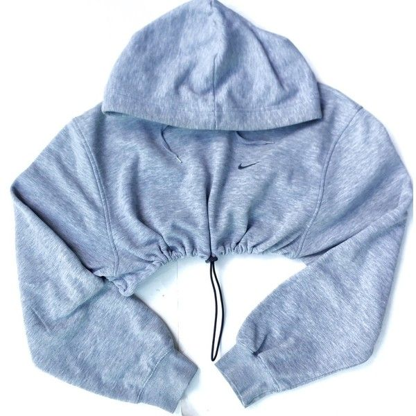 Reworked Nike Crop Sweatshirt ($38) ❤ liked on Polyvore featuring tops, hoodies, sweatshirts, nike, jackets, cropped hoodie, crop top, blue crop top, blue hoodie and nike sweatshirts