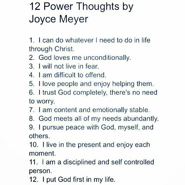 12 Power Thoughts by Joyce Meyer #inspiration http://www.lawofatractions.com/self-esteem-is-your-stepping-stone/