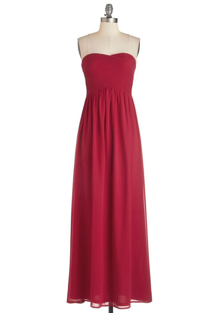 Glam Factor Dress - Red, Solid, Special Occasion, Prom, Wedding, Bridesmaid, Valentine's, Maxi, Strapless, Long, Sweetheart