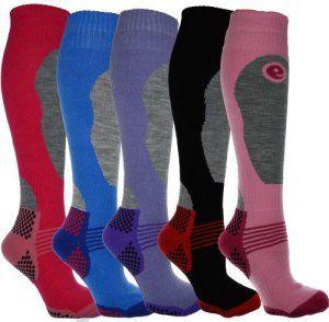 Ski Socks Lot de 6 paires de chaussettes montantes de ski pour femme Taille unique 37 à 41