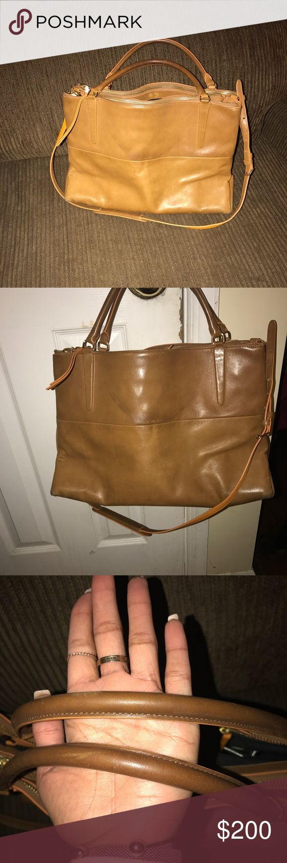 AUTHENTIC COACH BOROUGH BAG ❤️ Large bag! Napa Leather. Discontinued style. Almost 4 years old. Very good condition. Some spots inside but can be easily cleaned. Has 2 open spaces and 3 zip compartments shown below. Beautifully aged leather and tangerine piping. ❤️ Can be used for work, everyday, or travel. PRICE NEGOTIABLE LOOKING TO SELL TODAY! Coach Bags Satchels