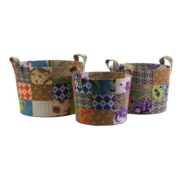 3 Indonesian Artisan Quilted Batik Decorative Round Storage Baskets