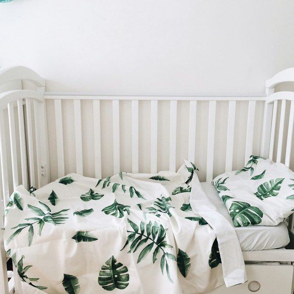 Baby Bedding - Nursery Bedding - Green Tropics Bedding - Baby Bedding Crib - Unique Bed Clothing - Handmade Bedding Set - Green And White by KarambaKids on Etsy