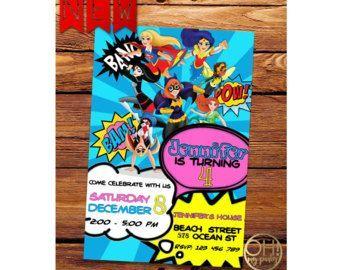 DC Super héroe invitación de chicas, chicas del superhéroe de dc, dc superhéroes chicas cumpleaños, dc superhéroes chicas partido, niñas de superhéroes de dc, superhéroe de dc
