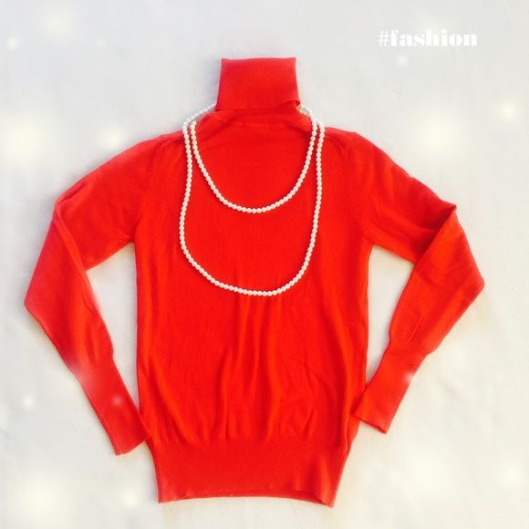 Red turtleneck sweater Like new. Worn once. Necklace not for sale. Zara Sweaters Cowl & Turtlenecks