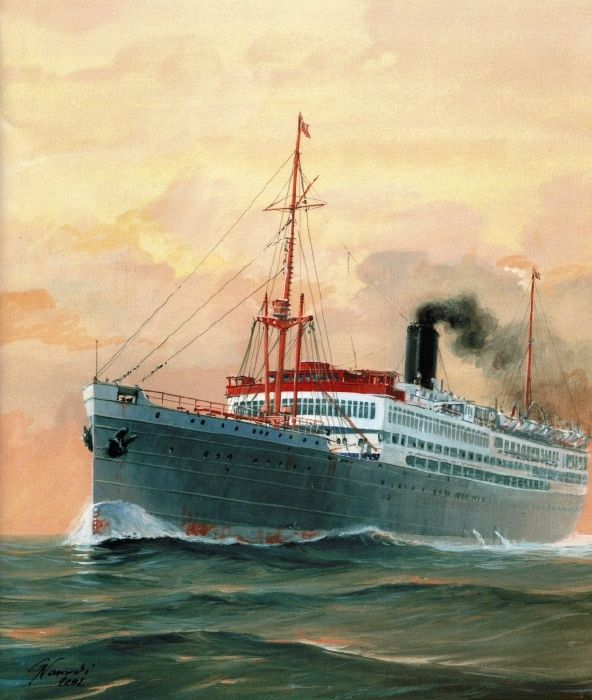 Sibajak. The ship my mother & her family emigrated on.