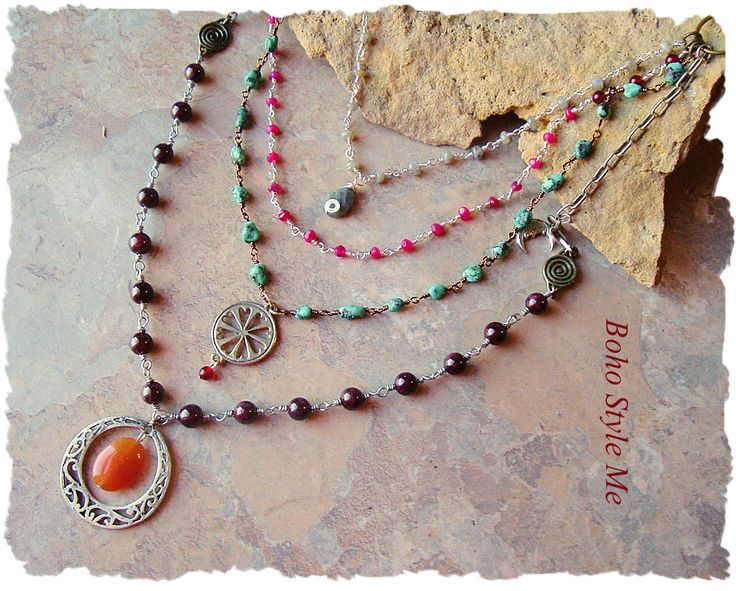 Bohemian Jewelry, Modern Hippie, Urban Gypsy, Boho Style, Multiple Strands, Beaded Necklace, Boho Style Me, Kaye Kraus by BohoStyleMe on Etsy