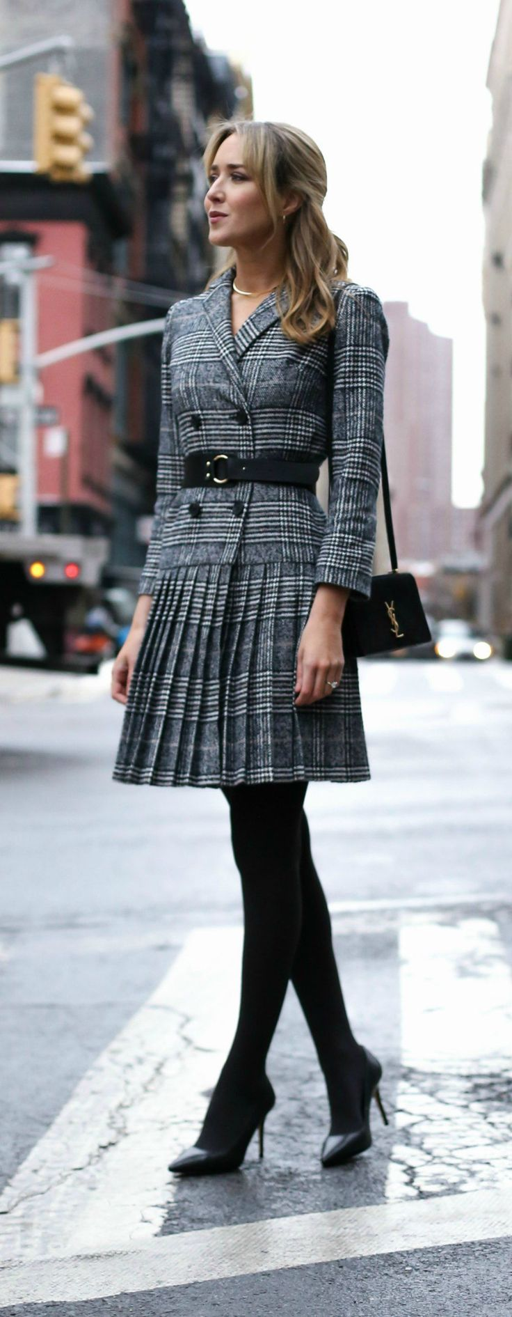 classic glen plaid pleated double-breasted suit dress, opaque black tights, classic pointed toe pumps, ysl suede dylan bag