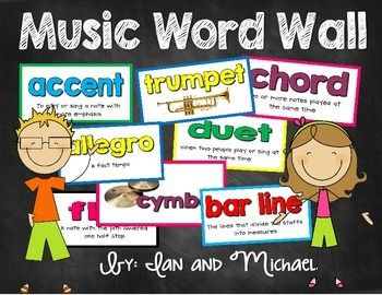 """Need a bright and colorful music word wall for your music room? You'll love the cards we created!Your download includes 48 colorful music word wall cards with definitions of terms and pictures of the instruments.These can also be used as vocabulary flashcards!Perfect for any elementary school music room!""""Music Word Wall"""" label is included in the download.Words Include: *Please do not give a low rating based on words you wish were included."""