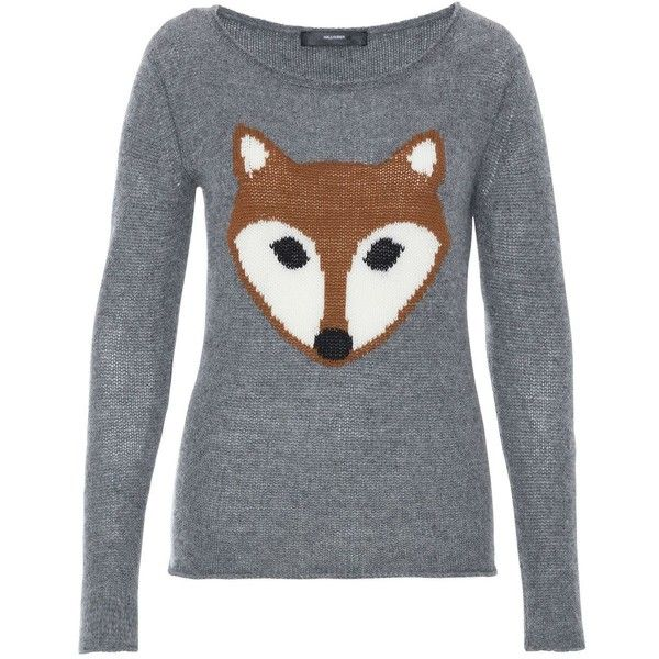 Hallhuber Cashmere Jumper With Fox Feature found on Polyvore featuring tops, sweaters, shirts, silver, women, fox sweater, jumper shirt, cashmere sweaters, fox shirt and hallhuber