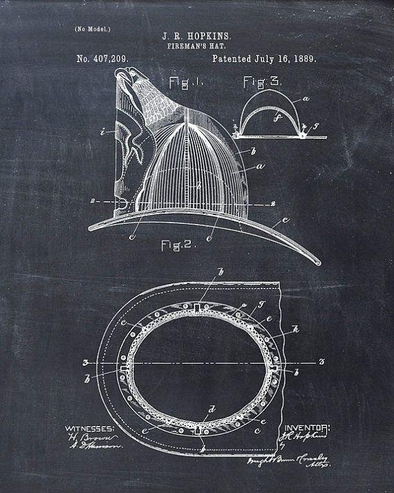 Patent Print of a Fire Helmet Patent Art Print - Patent Poster - Firetruck - Fireman Helmet - Fireman Hat