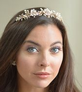 Rose Gold Pearl and Rhinestone Floral Wedding Tiara