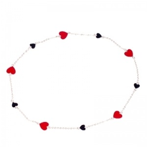 Red and black hearts necklace